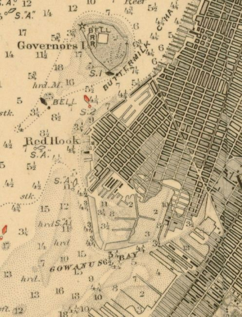 Nautical Chart No. 120, New York Bay and Harbor, 1894 [cropped]