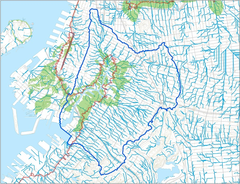 Watershed Map showing Sandy flooding, storm runoff, former marshes by Eymund Diegel&lt;br /&gt;<br />