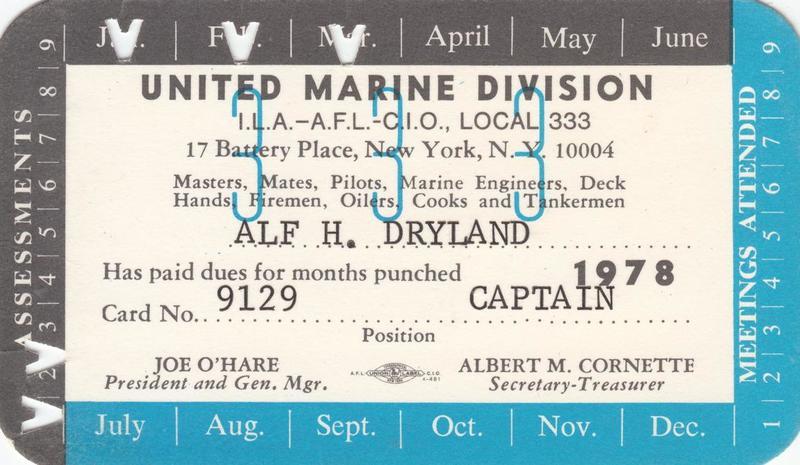 Alf Dyrlan, Local 333 Union Card, 1978