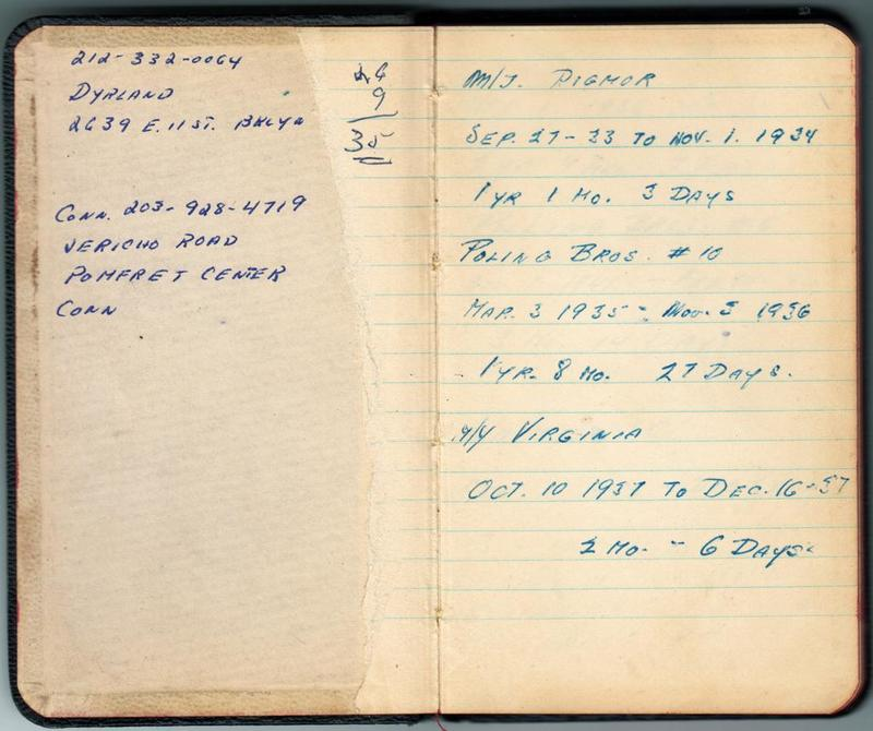 Alf Dyrland's notes on his work history - tankers worked on, 1933 to 1937