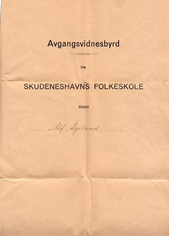 Alf Dyrland's school grades from Norway, cover