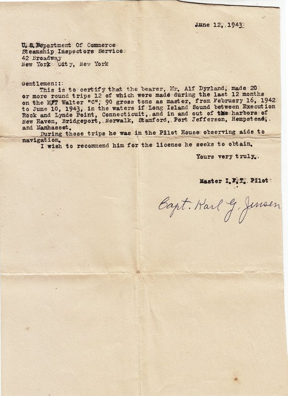 Alf Dyrland's Recommendation for Pilot's Licence, June 12, 1943