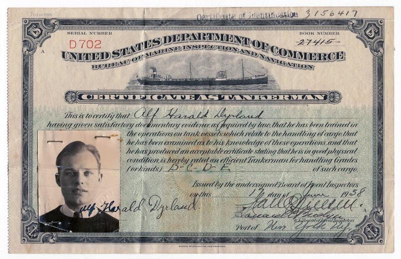 Alf Dyrland's Certificate as Tankerman, 1938