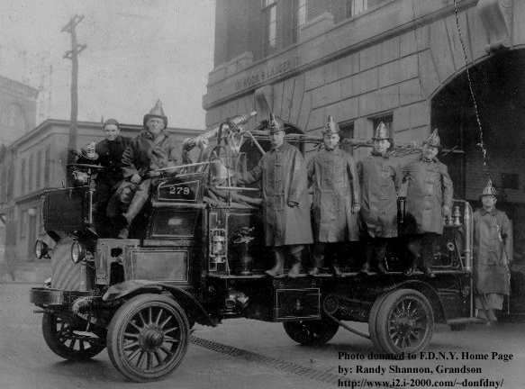 Captain James P. Shannon in 1922 with the men of Engine Company 279 in front of quarters