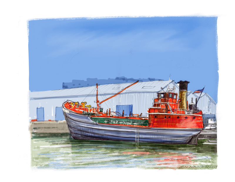 Sketch the ship Mary A Whalen, 5.19.19  By Win Naing
