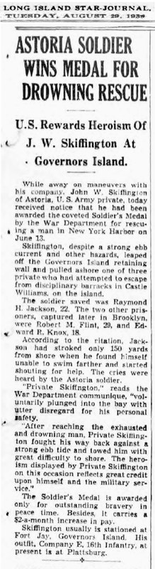 Astoria Soldier Wins Medal for Drowning Rescue. Long Island-Star Journal, 1939