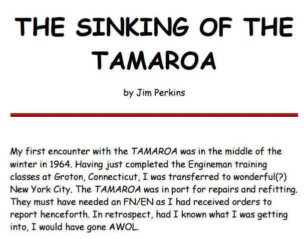 The Sinking of the TAMAROA