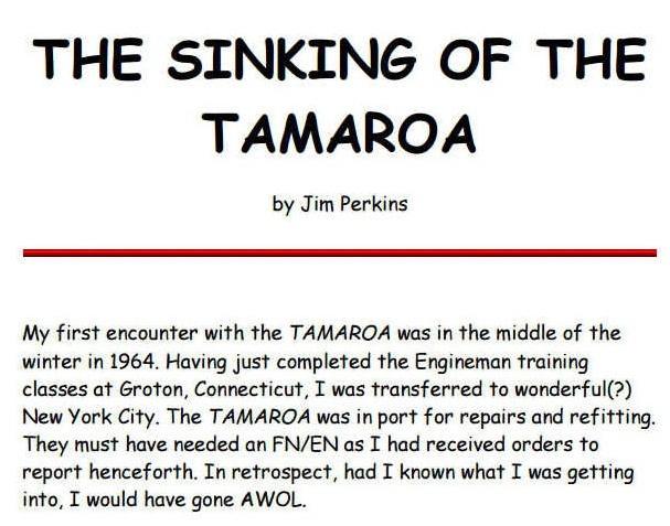 The Sinking of the TAMAROA