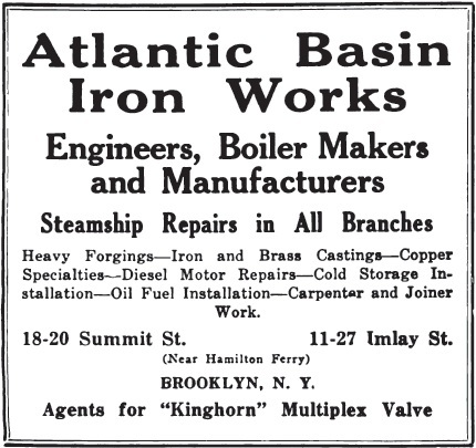 Advertisement for Atlantic Basin Iron Works, 1918