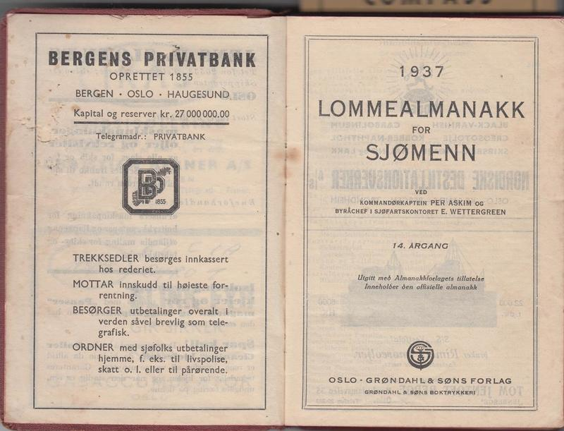 Alf Dyrland&#039;s Sailor&#039;s Pocket Almanac. 1937 &lt;br /&gt;<br />