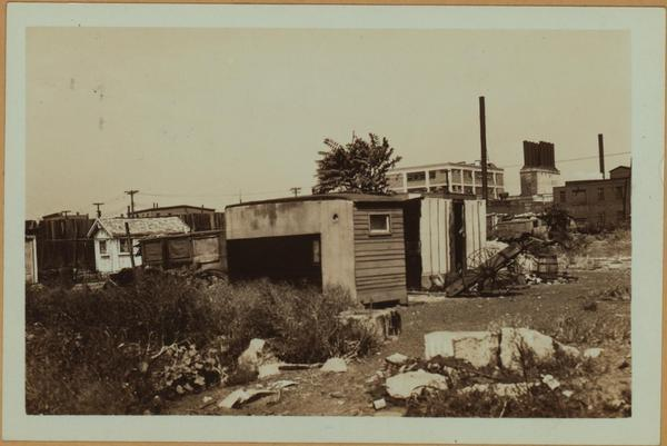 Squatter shacks near Otsego and Van Dyke Streets, showing shacks nearer Columbia St.