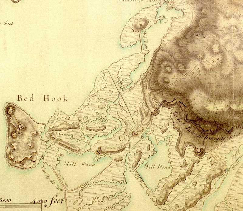1780 A Map of the Environs of Brooklyn showing Gowanus Fortifications