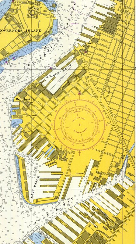 Nautical Chart No. 541, New York Harbor, Upper Bay and Narrows, 35th Ed., 1957 [cropped]
