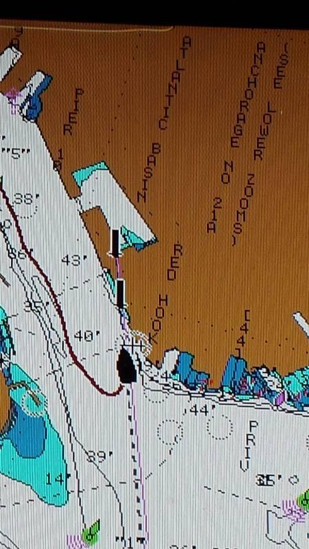 Chartplotter aboard JEWEL showing the Buttermilk Channel Range Markers