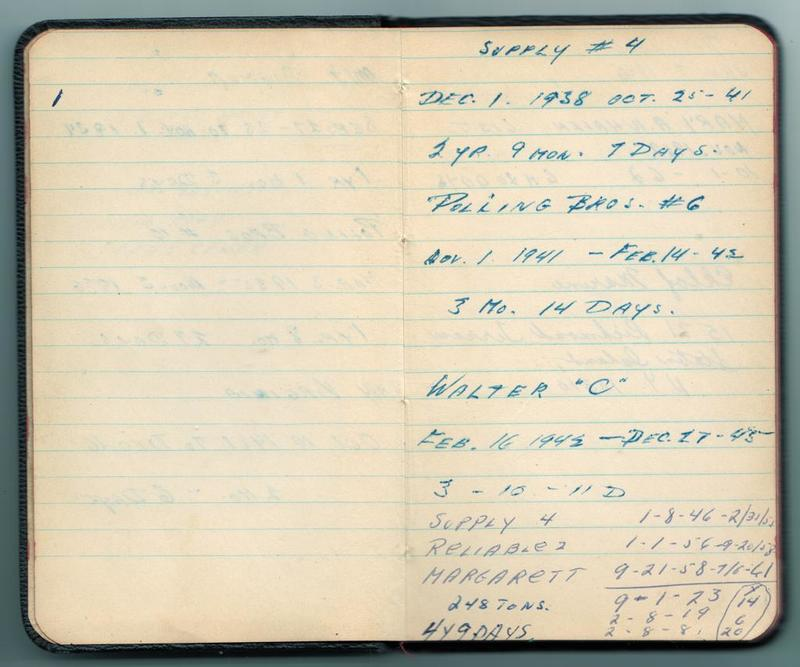 Alf Dyrland's notes on his work history - tankers worked on, 1938 to 1961.