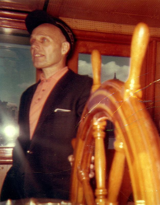 Captain Alf Dyrland in the Whalen's wheelhouse, 1962