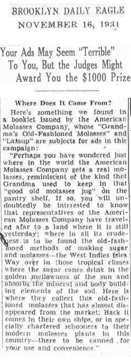 American Molasses Company 1931 advertisement copy.