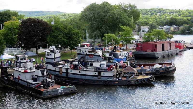 NYS Marine Highways Tugs: Left To Right LUCY H, FRANCES, SARAH D, Pa RR Barge 399, Tug Cynthia. <br />Photo taken at the Tug Boat RoundUp by Glenn Raymo, 2016.<br /><br />
