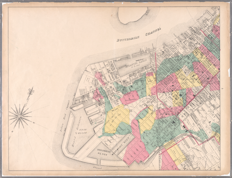 """<a href=""""https://redhookwaterstories.org/items/show/id/1356"""">Map encompassing Red Hook</a>..., by M. Dribbs, 1869"""