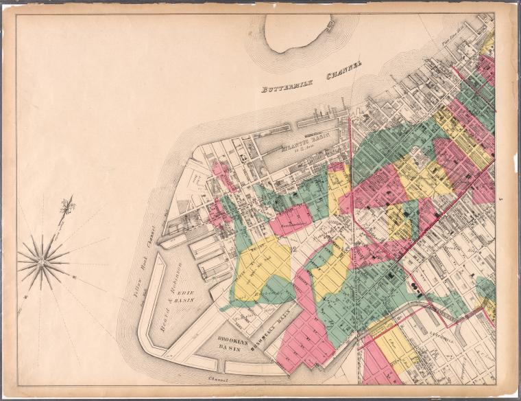 Map encompassing Red Hook, Cobble Hill, Carroll Gardens and Gowanus Canal, 1869