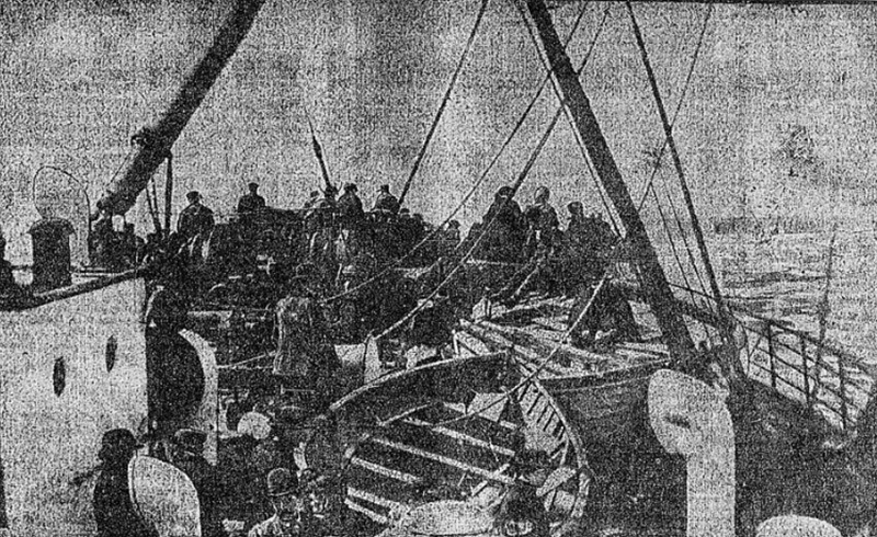 Titanic Lifeboats on the deck of the Capathia, 1912&lt;br /&gt;<br />