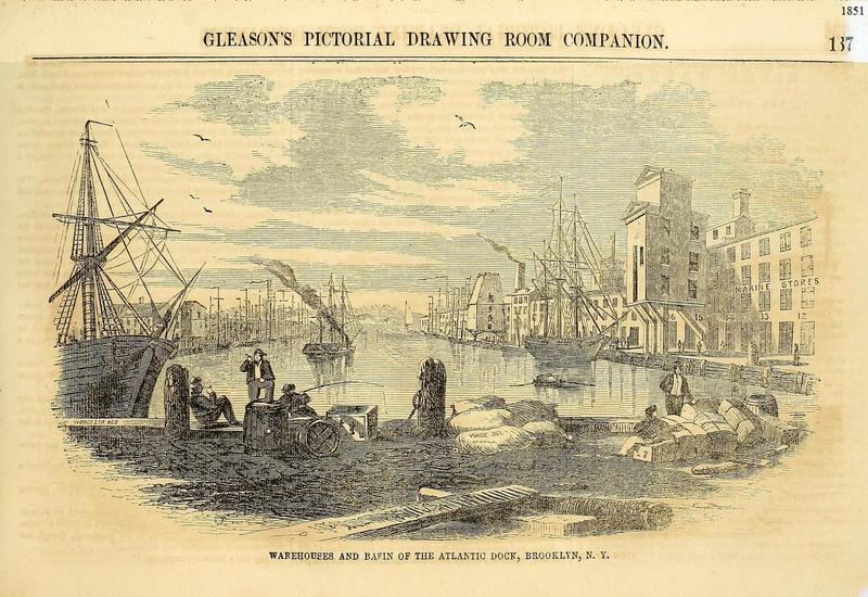 Warehouse and Basin of the Atlantic Dock, Brooklyn, 1851