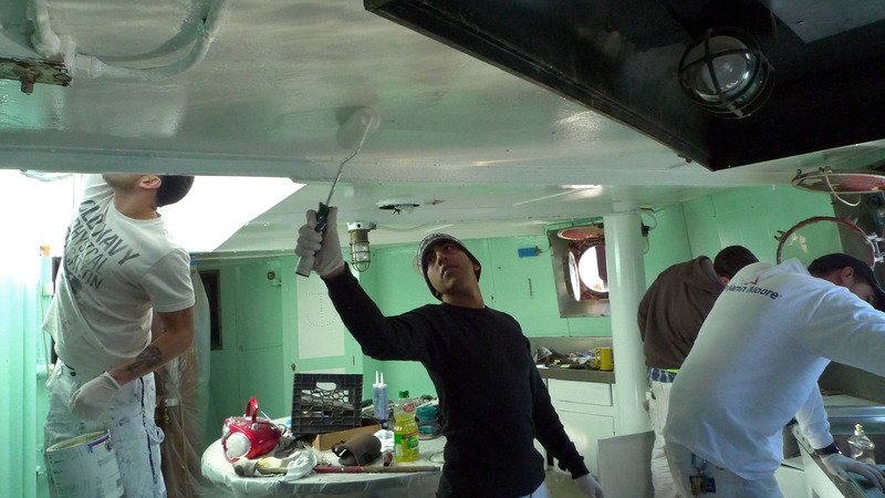 DC9 Trainees painting galley of Mary Whalen, 2015