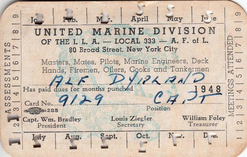 Alf Dyrland's union membership card, Local 333, 1948.