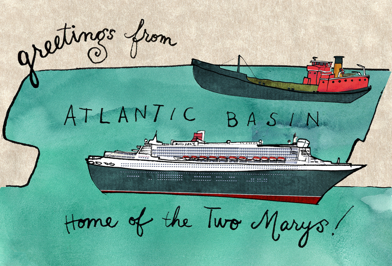 "QUEEN MARY 2 &amp; MARY WHALEN, PortSide postcard by Christina Sun, <a href=""https://bowsprite.wordpress.com"" target=""_blank"">https://bowsprite.wordpress.com</a>"