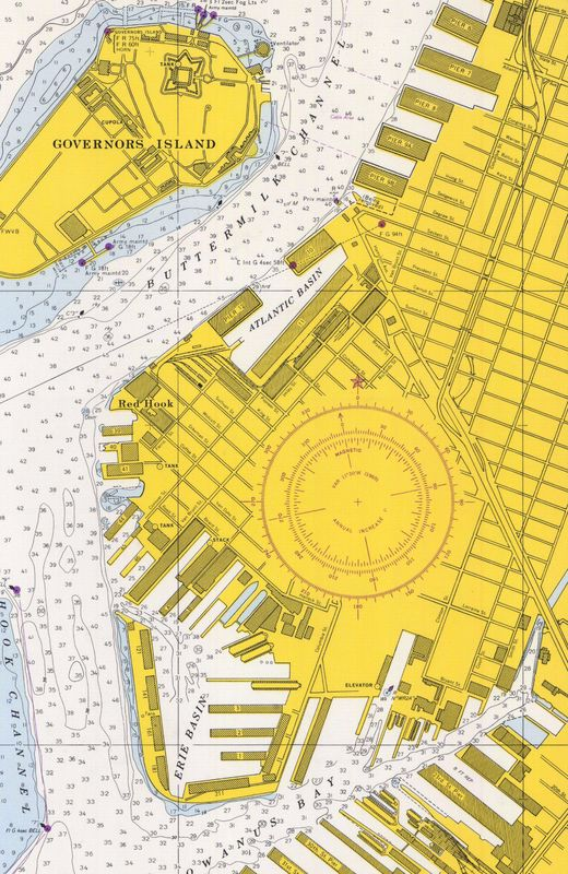 Nautical Chart No. 541, New York Harbor, Upper Bay and Narrows, 8th Ed., 1966 [cropped]