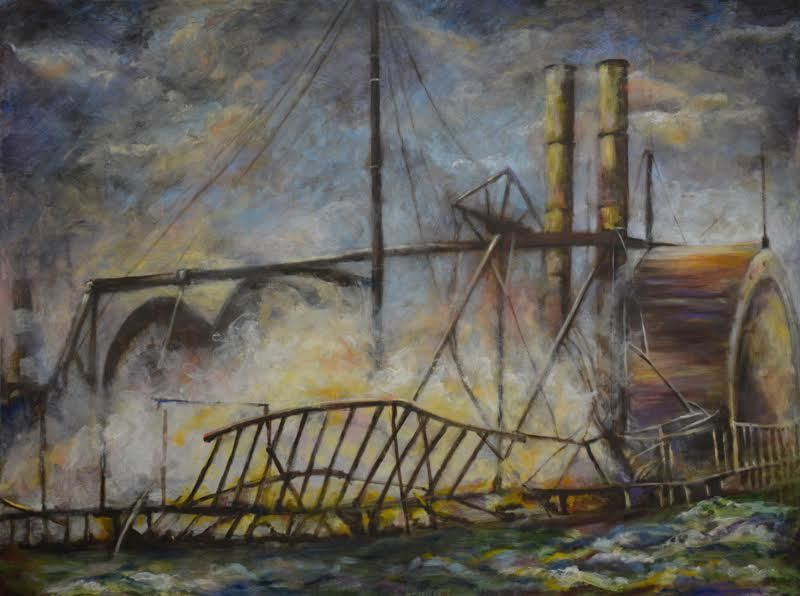 "Slocum Disaster #20, Smoldering, 48"" x 36"" Oil on Board, 2016"
