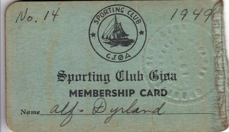 Alf Dyrland's Sporting Club card, 1949