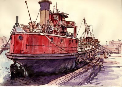 "Stern view of MARY WHALEN by illustrator <a href=""http://www.gardnerillustration.com/"" target=""_blank"">Stephen Gardner</a>, 2009"