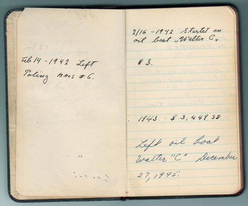 Alf Dyrland's notes on his work history: 1942 to 1953