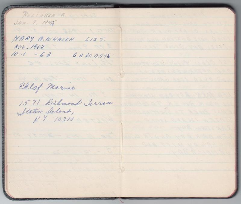 Alf Dyrland's notes on his work history: THE MARY A WHALEN, 1962