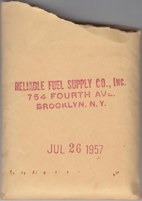 Envelope stamped Reliable Fuel Supply Co, Brooklyn, July 26, 1957.  (MARY A WHALEN moved fuel for Reliable).