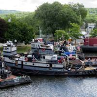 NYS Marine Highways Tugs: Left To Right LUCY H, FRANCES, SARAH D, Pa RR Barge 399, Tug Cynthia. Photo taken at the Tug Boat RoundUp by Glenn Raymo, 2016.
